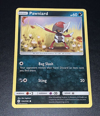 Pokemon Pawniard 134/236 Common Card NM Condition - Sun & Moon Cosmic Eclipse