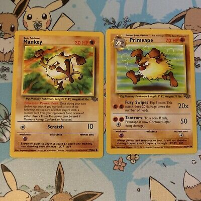 Mankey 55/64 & Primeape 43/64 Jungle Evolution Set Pokemon Cards