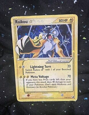 Pokemon RAIKOU Gold Star EX UNSEEN FORCES Set 114/115 Holo Rare Heavily Played