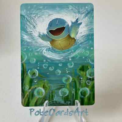 Pokemon hand painted Full Art card Squirtle EX FireRed & LeafGreen