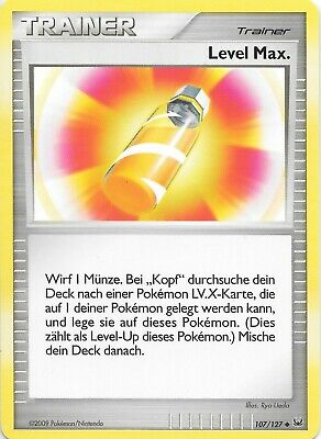 LEVEL MAX. GERMAN Platinum Pokemon TRAINER Card  #107/127  NM