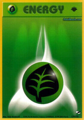 Grass Energy - 129/132 - Common - 1st Edition - Gym Heroes - NM - Pokemon