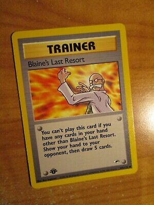 NM(1st edition)Pokemon BLAINE'S LAST RESORT Card GYM HEROES Set 105/132 First Ed