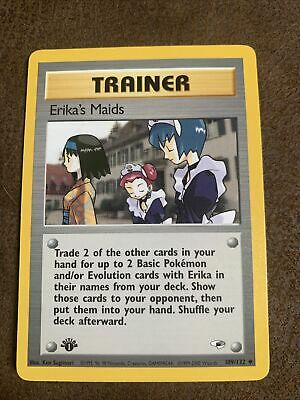 LP (1st edition) Pokemon ERIKA'S MAIDS Card GYM HEROES Set 109/132 First Ed