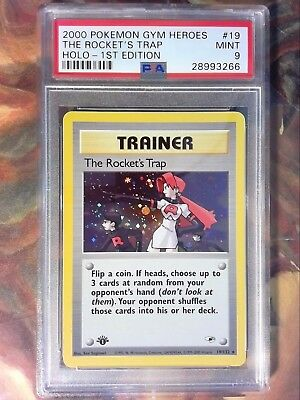 2000 Pokemon Gym Heroes 19 the Rocket's Trap Holo-1st Edition PSA 9 Mint Card
