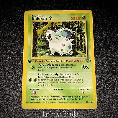 1st Edition Nidoran 57/64 Common 1999 WOTC Jungle Pokemon Cards EXCELLENT*