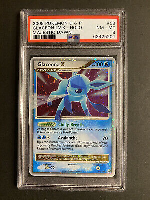 2008 DP Pokemon Majestic Dawn 98 Glaceon LV.X Holo PSA 8 NM-Mint Eevee Heroes