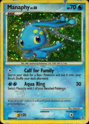 MANAPHY - 9/130 - Diamond & Pearl STAMPED - Reverse Holo - Pokemon Card - NM