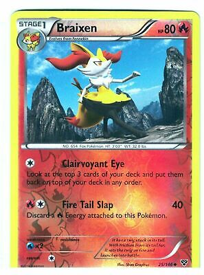 Braixen 25/146 XY Base Set Reverse Holo Uncommon Light Play LP Pokemon DNA GAMES