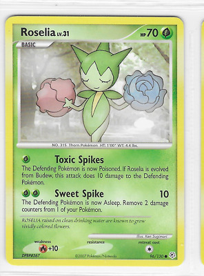 Pokemon Roselia 96/130 Diamond and Pearl Common Near Mint Condition