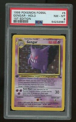 Pokemon 1st Ed Gengar Fossil English 5/62 NM - MT PSA 8