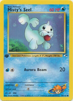 Pokemon Card - Gym Heroes 88/132 - MISTY'S SEEL (common) **1st Edition** - NM