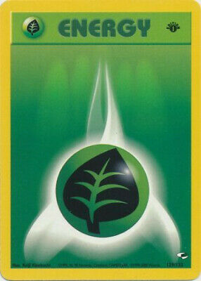 Pokemon Card - Gym Heroes 129/132 - GRASS ENERGY (common) **1st Edition** - NM