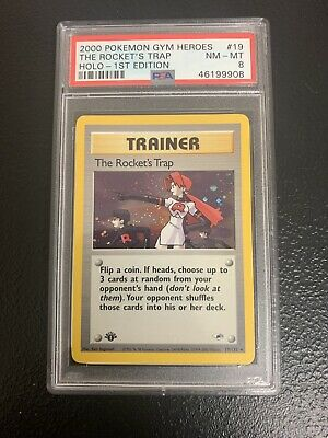 PSA 8 NM-MT Holo The Rocket's Trap 1st Edition 2000 Pokemon Gym Heroes #19