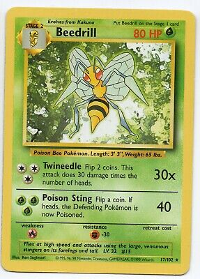 Beedrill - Base Set - 17/102 - Rare - Pokemon Card - Heavily Played Condition