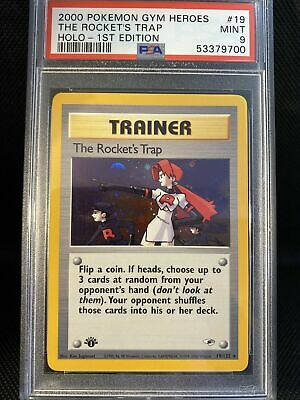 Pokemon PSA 9 1st Edition Gym Heroes The Rocket's Trap Holo 19/132