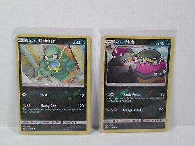 Alolan Grimer 130/236 & Alolan Muk 131/236 Pokemon TCG Cosmic Eclipse - Mint/NM