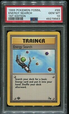 Energy Search #59 1999 Pokemon Fossil 1st Edition PSA 10 (#2734)