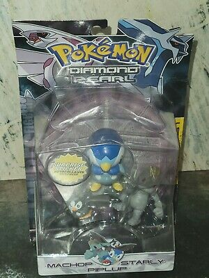 Pokemon Diamond And Pearl Machop, Starly, And Piplup- 3 Figure set