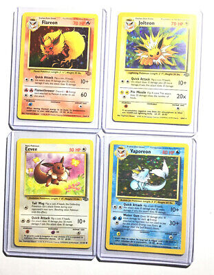 Pokemon Cards Original Eevee Evolution Set - Flareon - Jolteon - Vaporeon Jungle