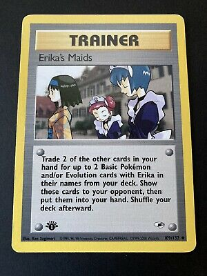 Erika's Maids 1st Edition Gym Heroes Pokemon Card 109/132 Near Mint