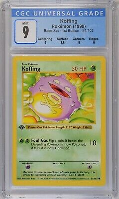 Koffing 51/102 - 1999 Pokemon Base Set 1st Edition CGC 9 Mint (Thick Stamp)