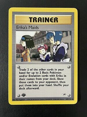 1st Edition ERIKA'S MAIDS TRAINER CARD #109/132  GYM HEROES POKEMON SET