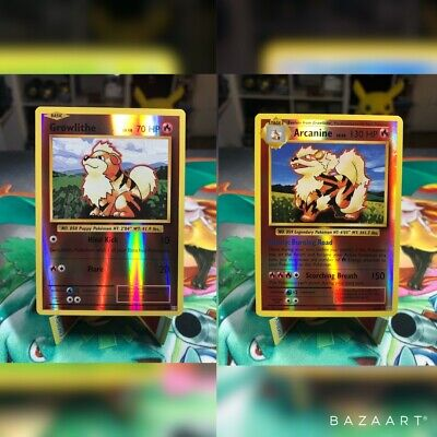 Arcanine 18/108 And Growlithe 17/108 Reverse Holo XY Evolutions Pokemon Cards