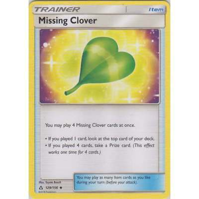 Missing Clover 129/156 Sm Ultra Prism Pokemon Trainer Card New Mint