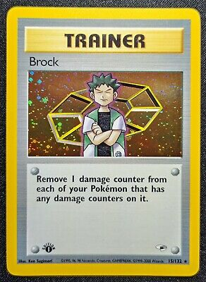 Pokemon 1st Edition Gym Heroes - Brock {Trainer} - 15/132 - Near Mint condition