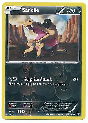 Sandile 56/106 XY Flashfire REVERSE HOLO PERFECT MINT! Pokemon