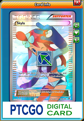 Pokemon PTCGO Skyla 149/149 Full Art Online Card Boundaries Crossed Fast In-Game