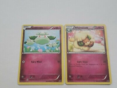 Pokemon Cards: Whimsicott 71/124 & Cottonee 70/124 Fates Collide Set! NM
