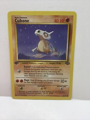 1999 POKEMON CUBONE 50/64 WOTC 1st Edition Jungle Pokemon Card  NM