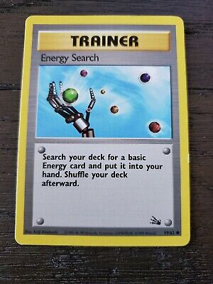 ENERGY SEARCH - Fossil Set - 59/62 - Common Pokemon Card Unlimited Edition - NM