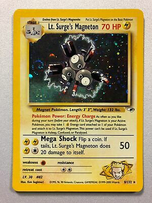 Lt. Surge's Magneton 8/132 Holo Rare Gym Heroes Pokemon Card Near Mint