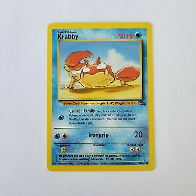 Pokemon Fossil Krabby NM 51/62 TCG Trading Card Game 1999 Unlimited