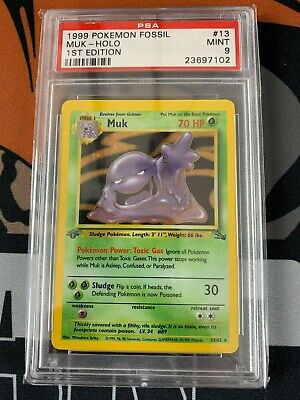 PSA 9 1st Edition Muk Fossil Holo Pokemon Card #13/62