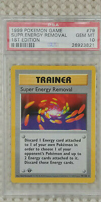 Pokemon Super Energy Removal 79/102 1st Edition Base Set PSA 10 1999 Trainer