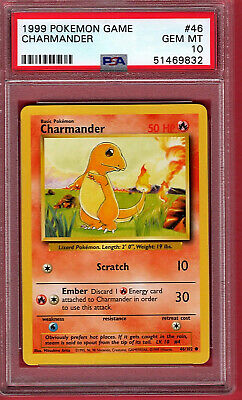 🔥 Pokemon PSA Graded 10 Gem Mint 1999 Base Set Charmander #46 🔥 Vintage!