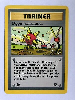 Pokemon Tcg 1st Edition Team Rocket Digger Trainer Card - Non Holo - Mint!!