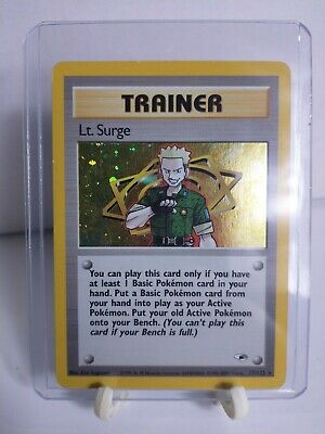 Lt. Surge Trainer Card Holo Rare Pokemon Card 17/132 Gym Heroes NM/LP Toploader