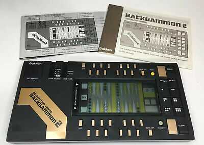 Backgammon 2 Vintage Handheld Computer Game W/ Dice Gakken - TESTED