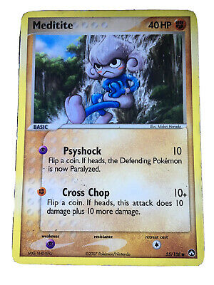 Pokemon Cards, Meditite - EX Power Keepers, (Near Mint Condition), No. 55/108