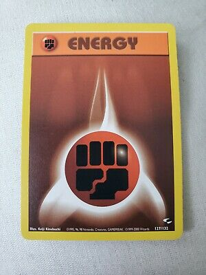 Fighting Energy Pokemon Card Brown 127/132 Gym Heroes Base Set 1999 Never Played