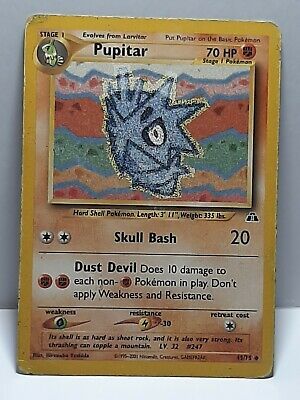 Pupitar 45/75 Neo Discovery Pokemon Damaged Uncommon Used Please See Pictures
