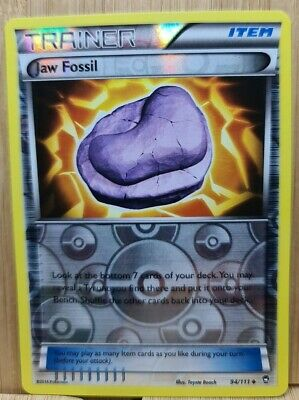 JAW FOSSIL🏆TRAINER REVERSE HOLO 94/111 Furious Fists (Genuine) Pokemon Card🏆