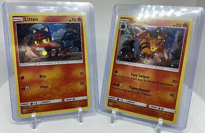 Pokemon Sun & Moon Cosmos Holo Litten 24/149 & Torracat 25/149
