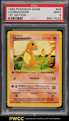 1999 Pokemon Base Set 1st Edition Shadowless Charmander #46 PSA 9 MINT