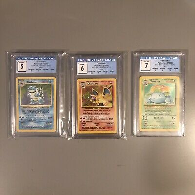 Pokemon Base Set Trio - Charizard, Venusaur, Blastoise, PSA, CGC - 5 6 7